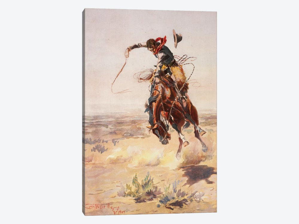 A Bad Hoss by Charles Marion Russell 1-piece Canvas Art Print