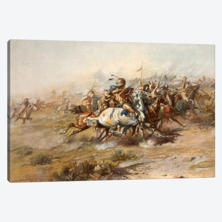 Custer Fight Canvas Print #CMR2} by Charles Marion Russell Canvas Print