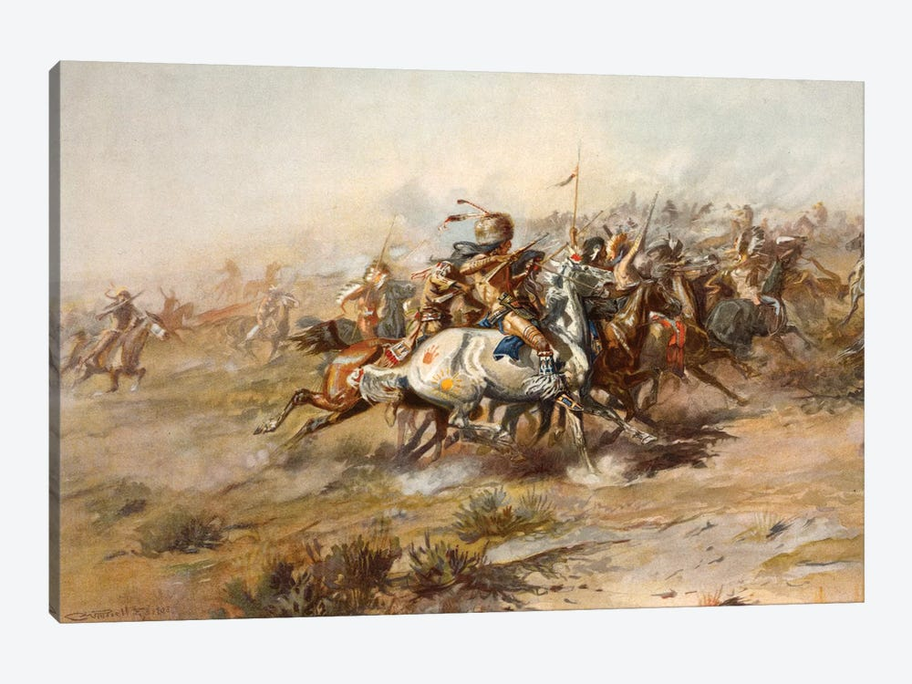 Custer Fight by Charles Marion Russell 1-piece Canvas Wall Art