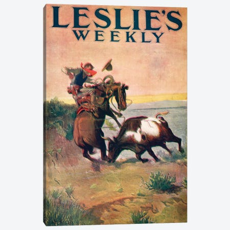 Leslie's Weekly Canvas Print #CMR3} by Charles Marion Russell Canvas Print