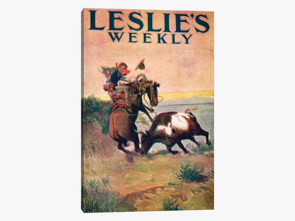 Leslie's Weekly by Charles Marion Russell 1-piece Canvas Print