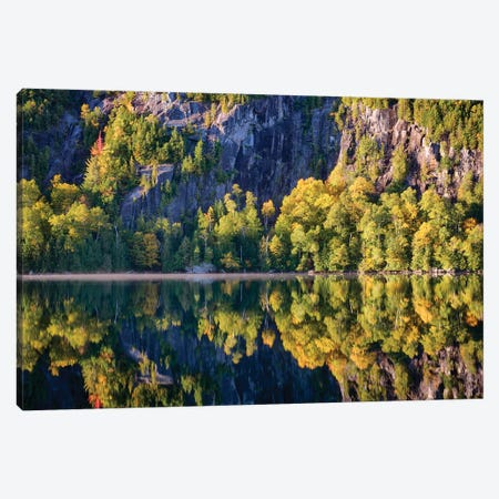 USA, New York State. Autumn reflections in Chapel Pond, Adirondack Mountains. 3-Piece Canvas #CMU1} by Chris Murray Canvas Artwork