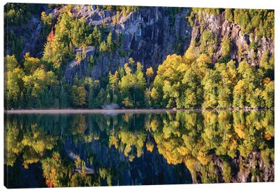 USA, New York State. Autumn reflections in Chapel Pond, Adirondack Mountains. Canvas Art Print