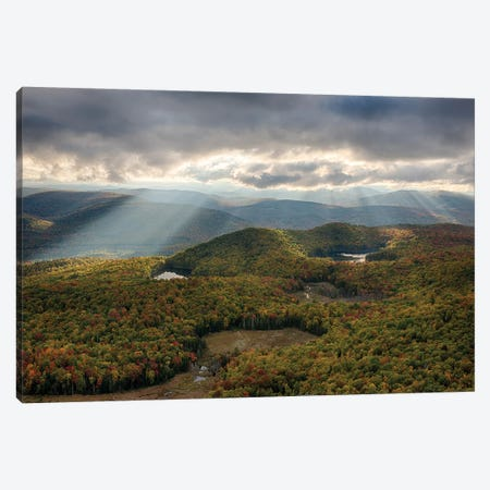 USA, New York State. Autumn sunrays in the mountains, Adirondack Mountains. Canvas Print #CMU2} by Chris Murray Canvas Wall Art