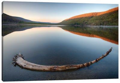 USA, New York State. Early spring morning on Labrador Pond. Canvas Art Print