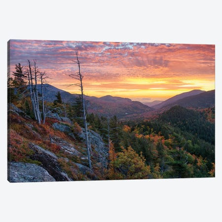USA, New York State. Sunrise on Mount Baxter in autumn, Adirondack Mountains. Canvas Print #CMU5} by Chris Murray Canvas Art Print