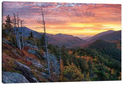 USA, New York State. Sunrise on Mount Baxter in autumn, Adirondack Mountains. Canvas Art Print