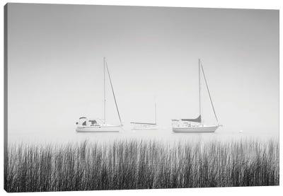 USA, New York State. Three sailboats, St. Lawrence River, Thousand Islands. Canvas Art Print