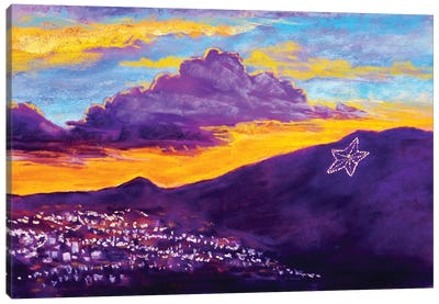 El Paso Star On The Mountain Canvas Art Print