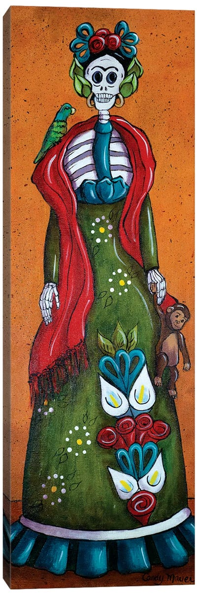 Frida With Monkey Canvas Art Print