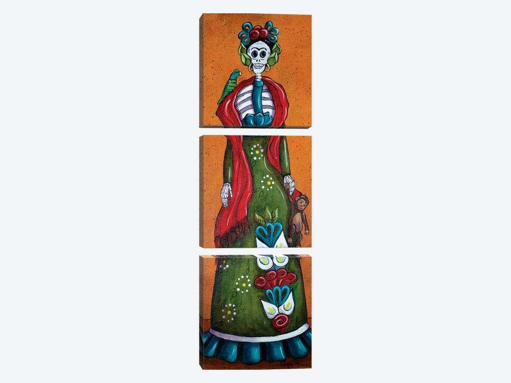 Frida With Monkey 3-piece Canvas Print