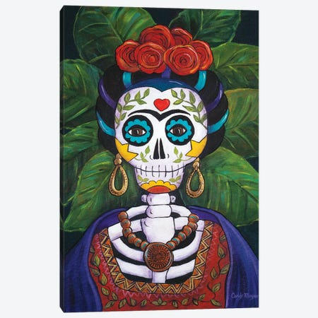 Frida With Roses Canvas Print #CMY23} by Candy Mayer Canvas Art Print