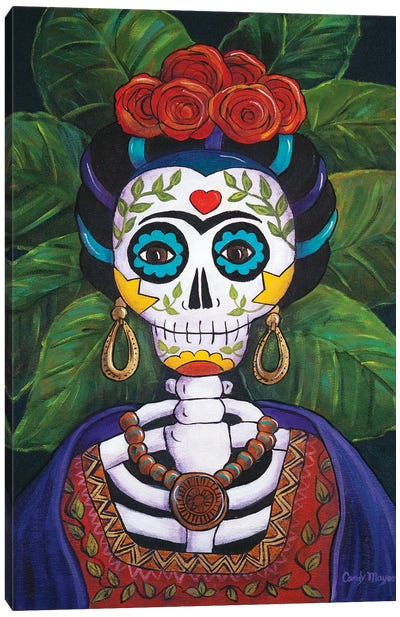 Frida With Roses Canvas Art Print