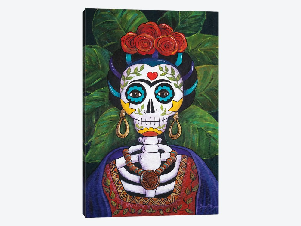 Frida With Roses by Candy Mayer 1-piece Canvas Wall Art