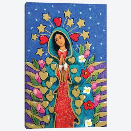 Guadalupe With Stars Canvas Print #CMY29} by Candy Mayer Art Print