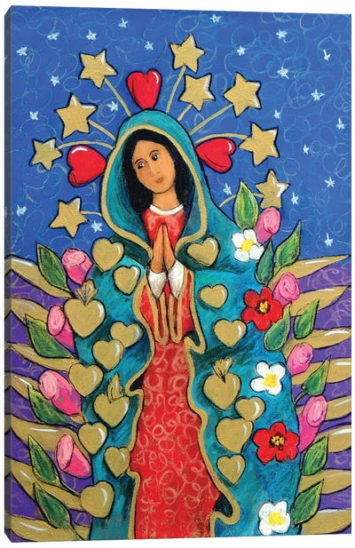 Guadalupe With Stars Canvas Art Print