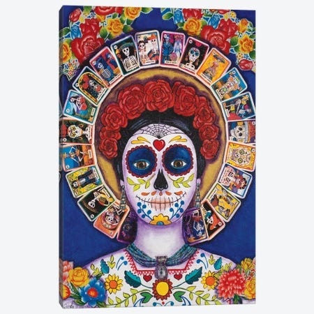 Blue Loteria Lady Canvas Print #CMY2} by Candy Mayer Canvas Art