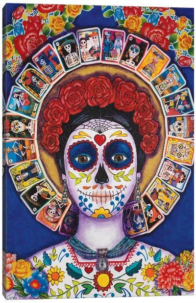 Blue Loteria Lady Canvas Art Print
