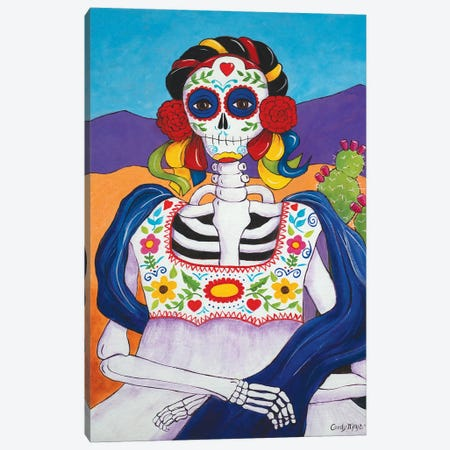 Mexican Mona Lisa Canvas Print #CMY38} by Candy Mayer Canvas Art