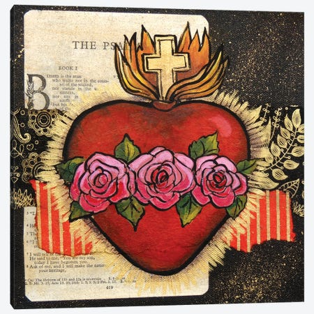 Sacred Heart With 3 Roses Canvas Print #CMY48} by Candy Mayer Art Print