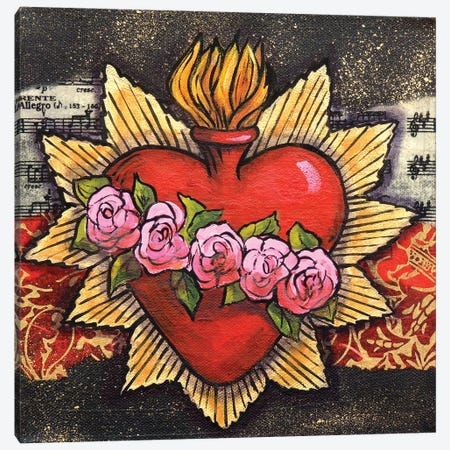 Sacred Heart With 5 Roses Canvas Print #CMY49} by Candy Mayer Art Print