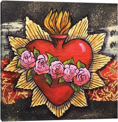 Sacred Heart With 5 Roses Canvas Art Print