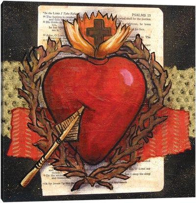 Sacred Heart With Arrow Canvas Art Print