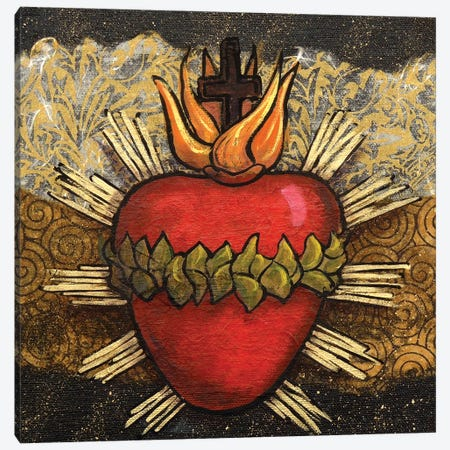 Sacred Heart With Leaves 3-Piece Canvas #CMY51} by Candy Mayer Canvas Art