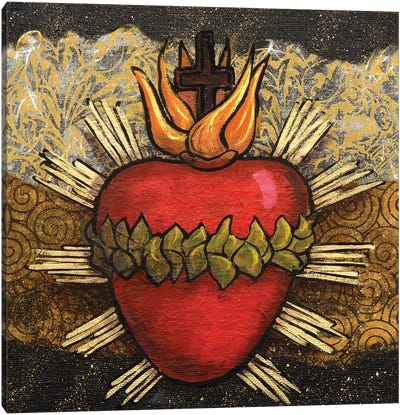 Sacred Heart With Leaves Canvas Art Print