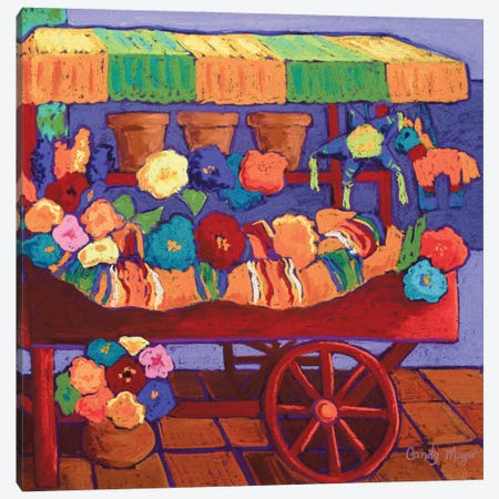 The Flower Cart Canvas Print #CMY68} by Candy Mayer Canvas Print