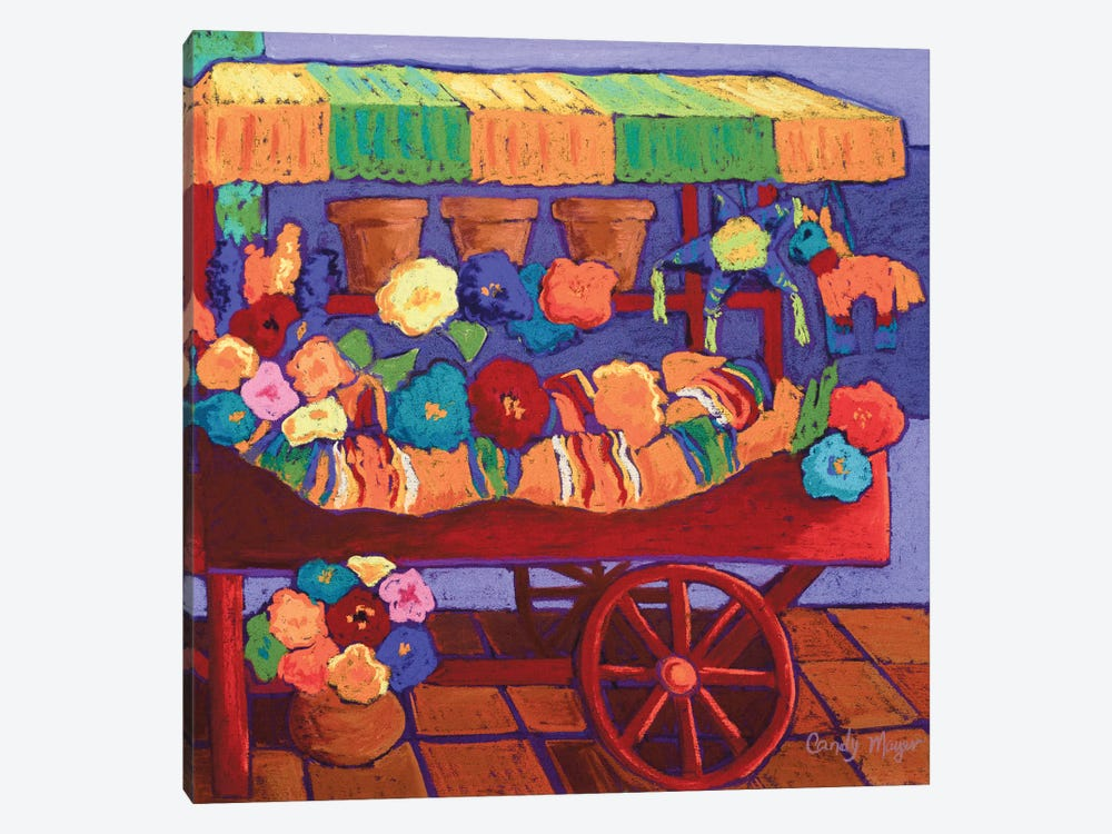 The Flower Cart by Candy Mayer 1-piece Canvas Print