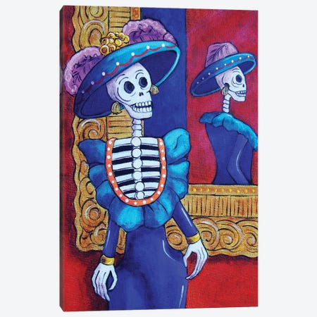 Catrina In The Mirror Canvas Print #CMY6} by Candy Mayer Canvas Print