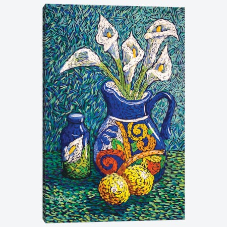 Talavera And Lilies Canvas Print #CMY83} by Candy Mayer Canvas Print
