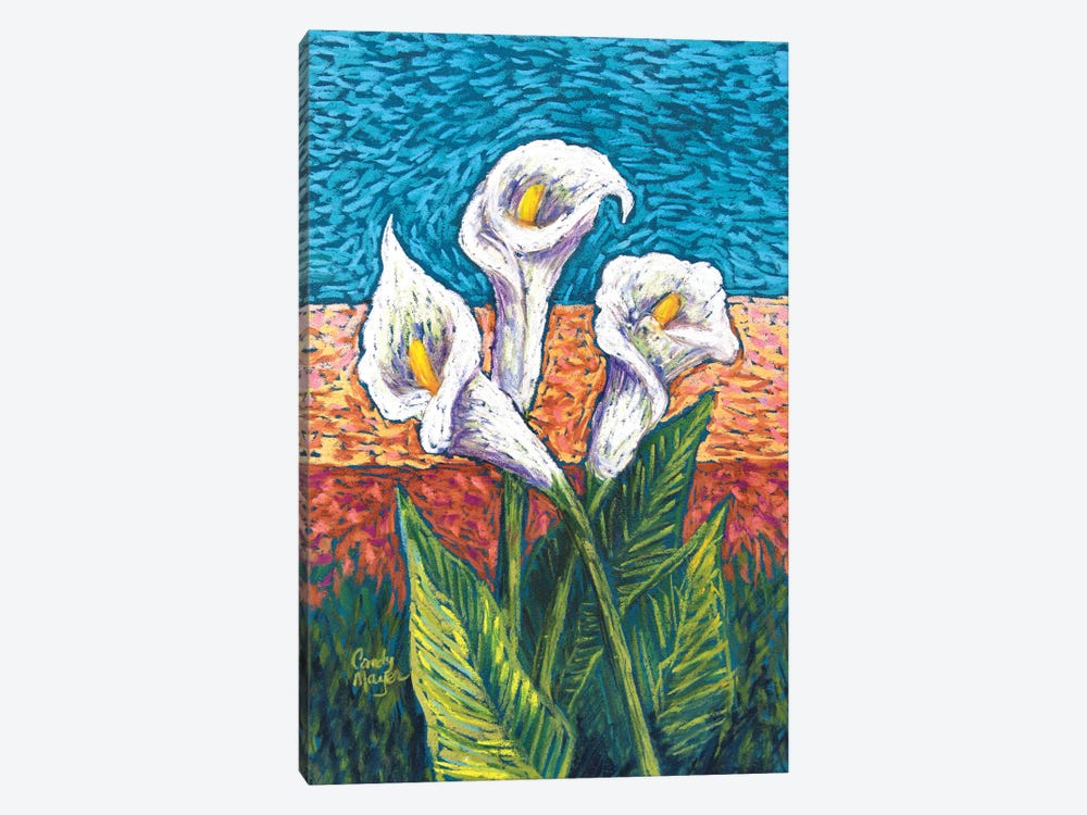Calla Lilies in Pastel by Candy Mayer 1-piece Canvas Art Print