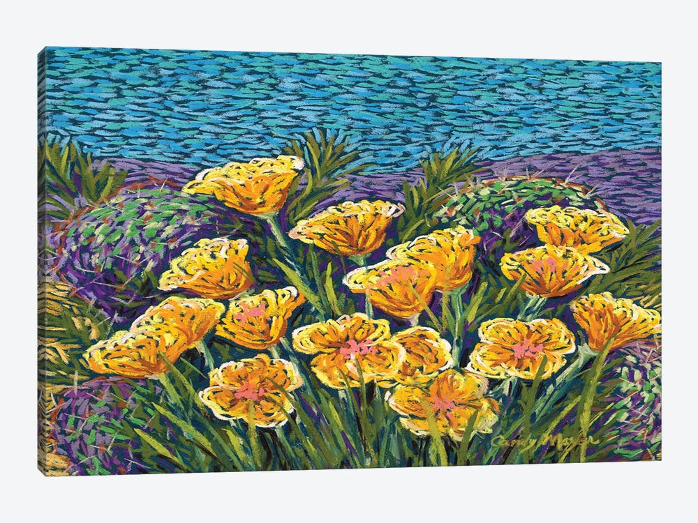 Poppies and Prickly Pear by Candy Mayer 1-piece Canvas Art
