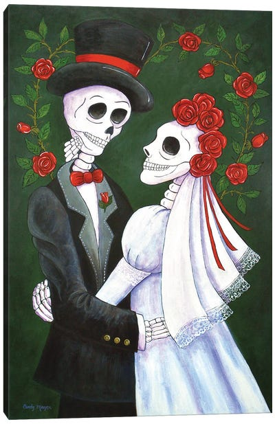 Bride and Groom with Roses Canvas Art Print