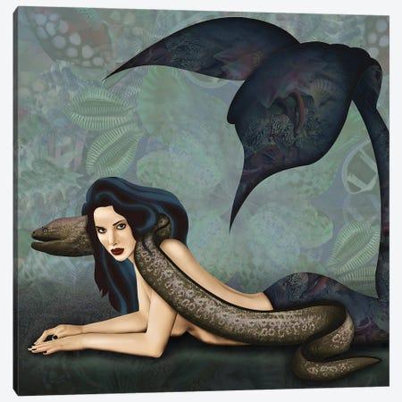 Mermaid With Eel Canvas Print #CMZ42} by Charlie Moon Canvas Wall Art