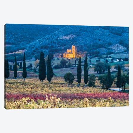 Autumnal Abbey (Tuscany, Italy) Canvas Print #CNS44} by Chano Sánchez Canvas Wall Art