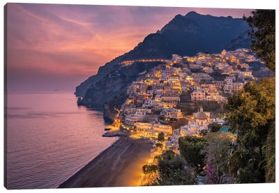 Glamour Over The Cliffs (Positano, Italy) Canvas Art Print