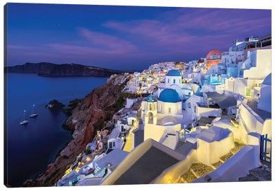Blue Domes (Santorini, Greece) Canvas Art Print