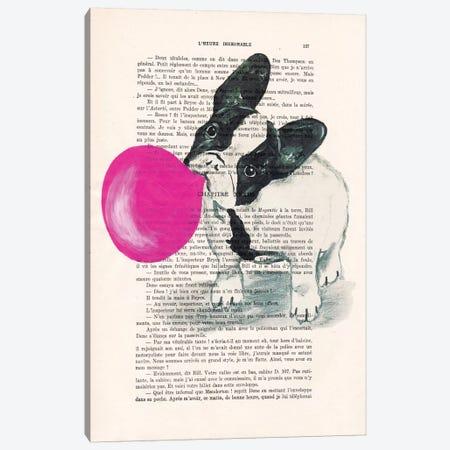 French Bulldog With Bubblegum Canvas Print #COC100} by Coco de Paris Canvas Print
