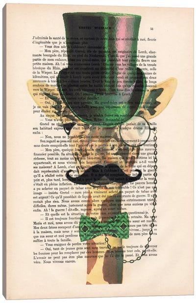 Vintage Paper Series: Gentleman Giraffe Canvas Print #COC101