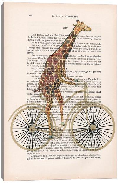 Vintage Paper Series: Giraffe On Bicycle Canvas Print #COC104