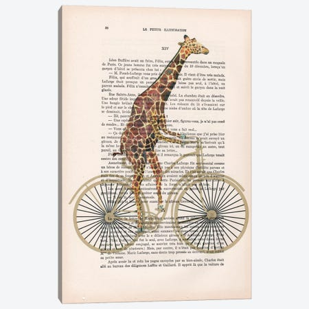 Giraffe On Bicycle Canvas Print #COC104} by Coco de Paris Canvas Art