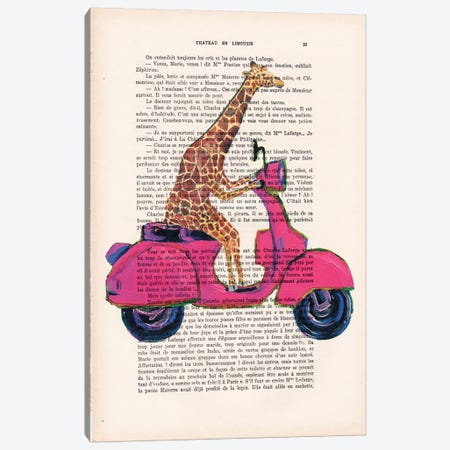 Giraffe On Motorbike Canvas Print #COC105} by Coco de Paris Canvas Wall Art