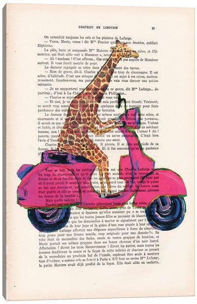 Giraffe On Motorbike Canvas Art Print
