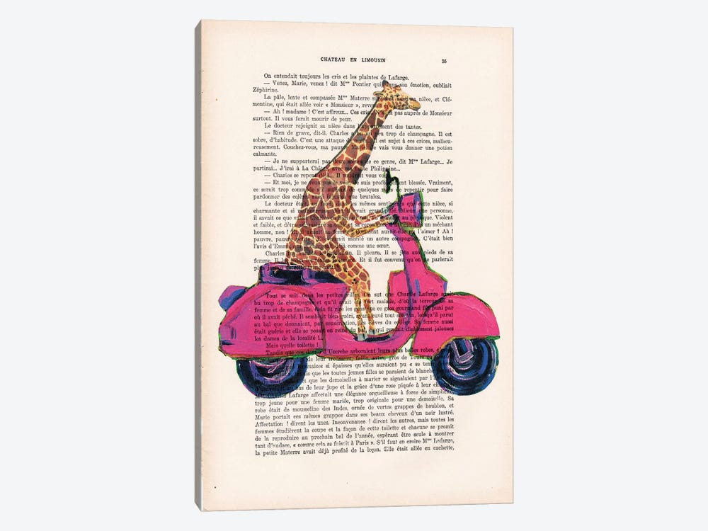 Giraffe On Motorbike by Coco de Paris 1-piece Canvas Art Print