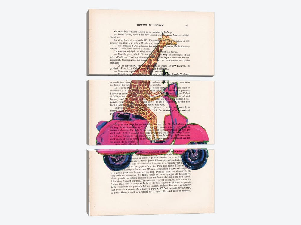 Giraffe On Motorbike by Coco de Paris 3-piece Canvas Print