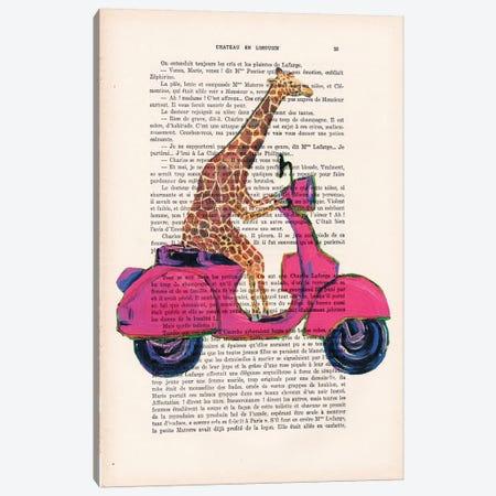Giraffe On Motorbike Canvas Print #COC105} by Coco de Paris Canvas Wall Art