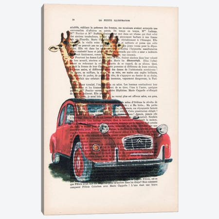 Giraffes In French Red Car Canvas Print #COC106} by Coco de Paris Canvas Artwork
